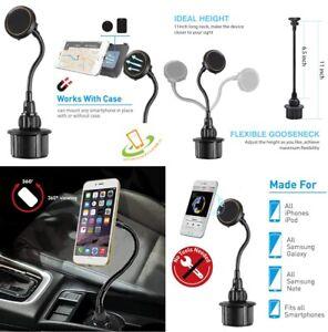 Magnetic Car Mount Long Adjustable Gooseneck Cup Holder Cradle Universal Phone