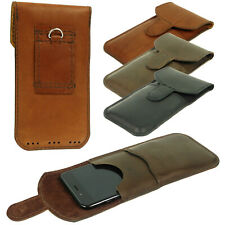 VERTICAL HAND SEWN OF GENUINE LEATHER WAIST POUCH CASE COVER FOR MOBILE PHONES