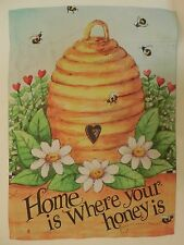 """""""Home is Where your honey is"""" Bee Hive of Honey for Summer decorative HOUSE flag"""