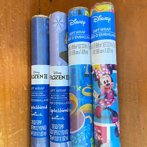 Disney Frozen II Minnie Mouse Christmas Gift Wrap Wrapping Paper Rolls Lot of 4