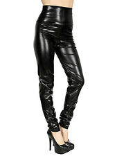 New Shiny Wet Liquid Look PU Faux Leather Metallic Stretch Legging Pants