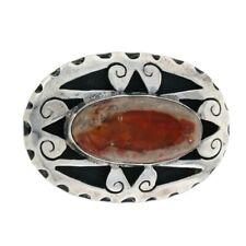 Sterling Silver Mexican Fire Opal Brooch - 925 Oval Cabochon Open Cut Pin