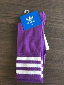 Adidas socks womans unisex size 9-11 1/2 crew  socks purple