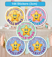 144 Personalised School Teachers Children Parents Well Done Reward Sticker Label