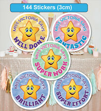 144 Personalised School Teachers Children Parents Well Done Reward Sticker Label