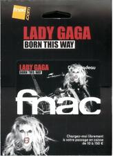 LADY GAGA Carte cadeau Fnac Neuve Gift Card album promo Born this way