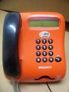 TELEFONO PUBBLICO TELECOM VINTAGE ANNI '80 A SCHEDA ARANCIONE E NERO