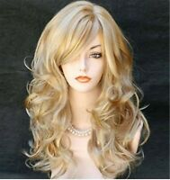 Women Blonde gold Party Function Natural Curly Wavy long Hair Costume Full Wigs