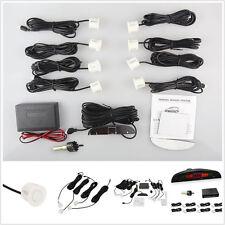 White Car Parking Rear Reverse 8 Sensors Buzzer Radar LED Display Audio Alarm