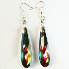 Length: 80mm Faceted Rainbow Titanium Crystal Teardrop Earrings A40653