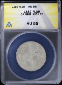 1887 Great Britain Florin ANACS AU55 About Uncirculated Silver Jubilee Victoria