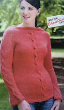 KNITTING PATTERN Ladies Cable Vertical Stripe Jumper Long Sleeve Sweater Rooster