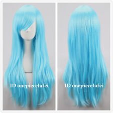 New wig Cosplay Long Light Blue Straight Wig +a wig cap
