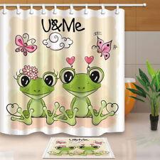 Cute Cartoon Frogs on Orange Bathroom Fabric Shower Curtain Set 71Inch LONG