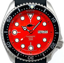 Auth. SEIKO 7S26 diver SKX mod *Mercedes hand set on ORANGE Mother of Pearl dial