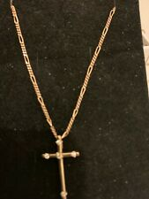 9ct gold diamond set cross and 16 inch gold figaro chain