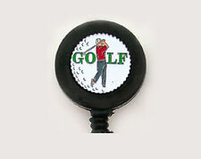 GOLF Retractable ID Card Holder Badge Reel Key Ring Security Chain Club Golfer