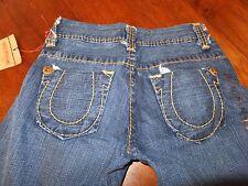 Womens Teen Girls 26 TRUE RELIGION BIG T Cotton Jeans R200F2 Dark Wash Blue