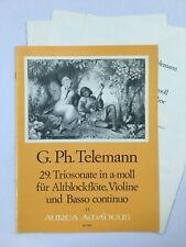 Noten. Telemann. 29. Triosonate in a-moll.   Partitur und Stimmen.
