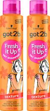 2X Schwarzkopf Got2b  Fresh It Up TEXTURE Dry Shampoo 200ml