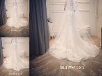 Shiny Bling Ivory Wedding Veils Luxury Cathedral Length Beads Bridal Veil New