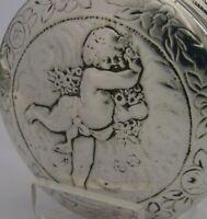 SUPERB HANAU SOLID STERLING SILVER CHERUB TABLE SNUFF BOX 1887 ANTIQUE CHERUB