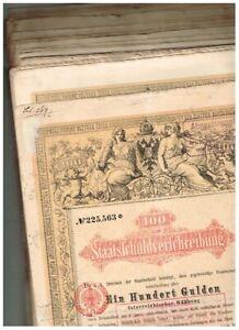 Händler-Lot 47 Staatsschuldverschreibung Österreich, Wien 1868, 100 Gulden,
