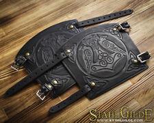 Handmade Pair Leather Cuff Archery Arm Guards LARP Bracers Armor Thor's Hammer C