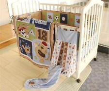 Hot Set of 6pcs Team Cotton Baby Crib Cot Quilt Bumper Sheet Dust Ruffle Bedding