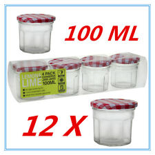12 X SMALL CONSERVE PRESERVING JAM CANDY JAR JARS PATTER RED WHITE LID 100ML AP