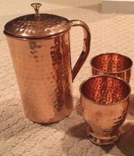 NEW! Set of 100% Pure Copper Hammered Pitcher Jug and 2 Glasses