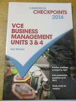 Cambridge Checkpoints VCE BUSINESS MANAGEMENT Unit 3  ALAN WHARTON 2014