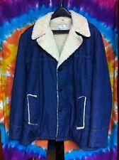 Vintage RARITAN SPORTSWEAR Mens Blue Denim Trucker Jean Sherpa Jacket Coat 46 XL