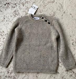 New Zara Boys Mixed Knit Tan Marl Chunky Sweater  6 Years
