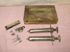 2 Vintage Veterinarian Syringes - Durity & Anchor Serum & Needles & Wooden Box