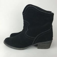 Naughty Monkey Black Suede Boots Western Booties Cowgirl Short Women's Size 6.5