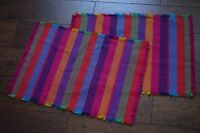 Set of 2 Crate and Barrel Placemats Pink Purple multi-Colored Striped Washable