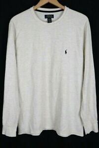 Polo Ralph Lauren Sleepwear Men's Size XL Ivory White Long Sleeve Knit Shirt