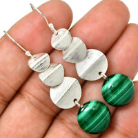 Malachite - Congo 925 Sterling Silver Earrings Jewelry AE73417 82X