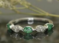2.5ct Marquise Emerald Diamond Stackable Wedding Band Ring 14K White Gold Over
