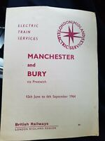 BR Train Services 1964 Manchester- Bury Timetable Booklet. Collectable rare