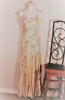 WOMEN'S ELEGANT BEADED IVORY EVENING GOWN  by SUE WONG~SIZE 8 Hand Sewn beading
