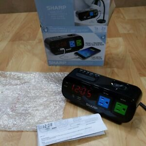 Sharp Alarm Clock + 2X Power Outlets/Rapid Charge 2 AMP USB Port