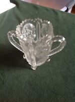 Clear Glass FLORAL PATTERN, OPEN SUGAR BOWL - Crystal?