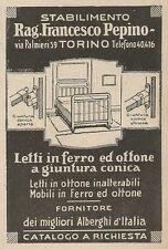 Z2280 Letti in Ferro Rag. PEPINO - Torino - Pubblicità del 1927 - Vintage advert
