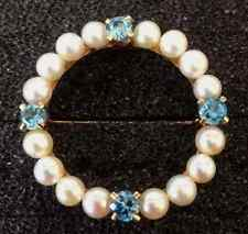 blue topaz circle pin 14k yellow gold pearls and