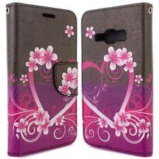 for Samsung Galaxy J1 Ace Wallet Case - Purple Love Design Folio Phone Pouch
