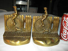 ANTIQUE PENNY FARTHING BICYCLE WHEEL BOY DOG BRONZE STATUE SCULPTURE BOOKENDS