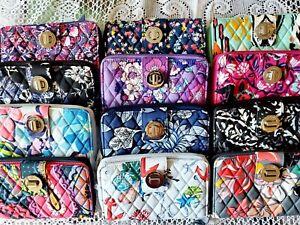 New Vera Bradley RFID Turnlock zip-around wallet Choose your favorite patterns