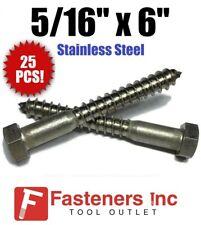 Qty 25 516 X 6 Lag Screws Hex Head Stainless Steel 18 8 304